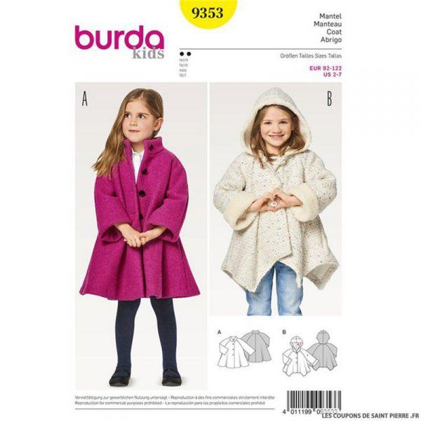 Patron Burda n°9353: Manteau enfant