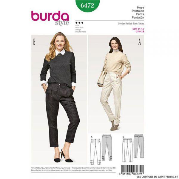 Patron Burda n°6472: Pantalon à pinces