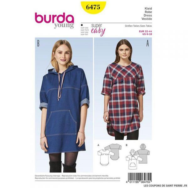 Patron Burda n°6475 : Robe à capuche simple