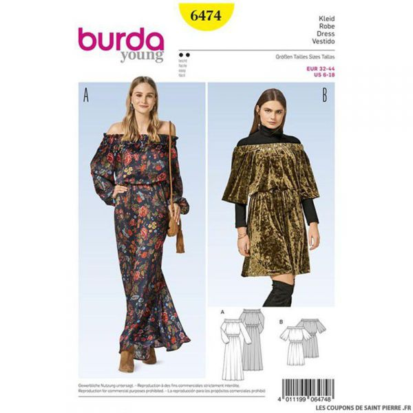 Patron Burda n°6474 : Robe carmen