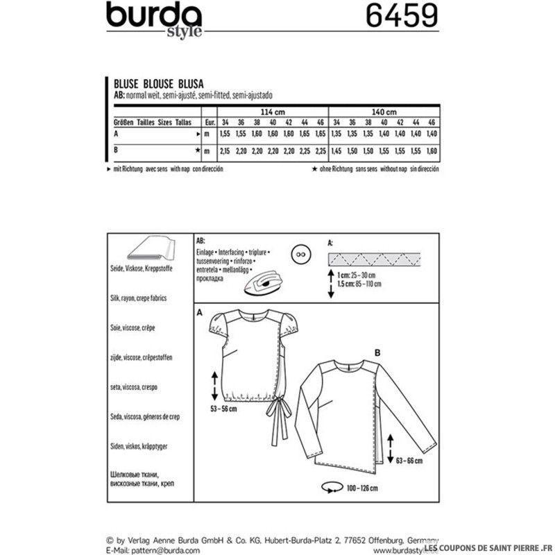 Pattern6459blusa Pattern6459blusa con con Burda Burda mangas abullonadas 76yYbfvmIg