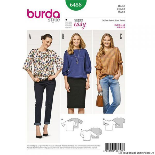 Patron Burda n°6458 : Blouse facile