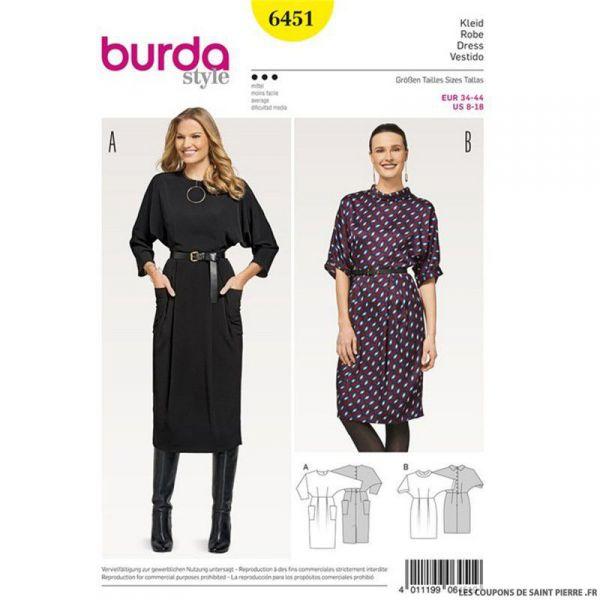 Patron Burda n°6451 : Robe chauve-souris