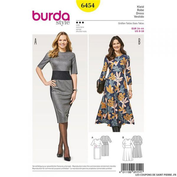Patron Burda n°6454: Robe chic