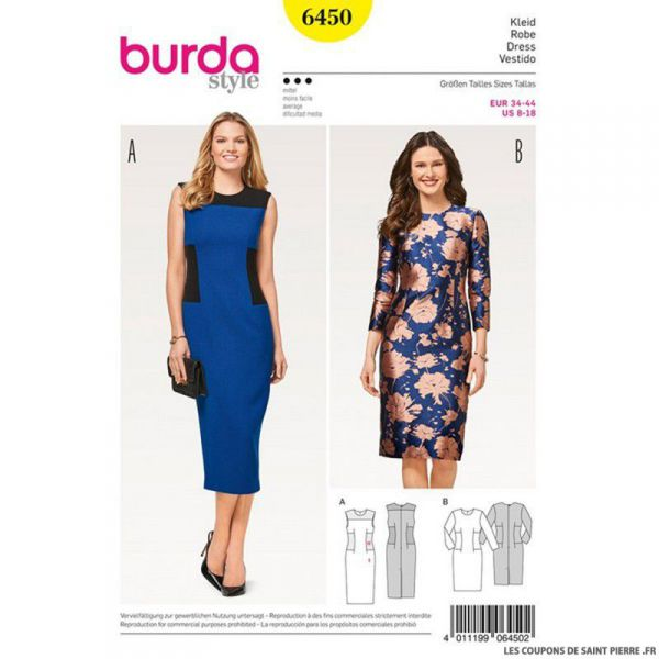 Patron Burda n°6450: Robe à empiècements
