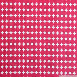 Coton imprimé gros pois rose