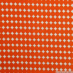 Coton imprimé gros pois orange