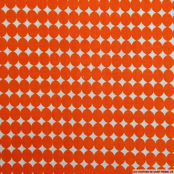 Coton imprimé gros pois orange