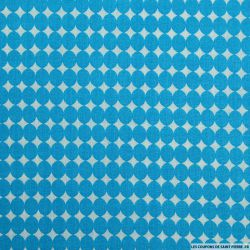 Coton imprimé gros pois bleu