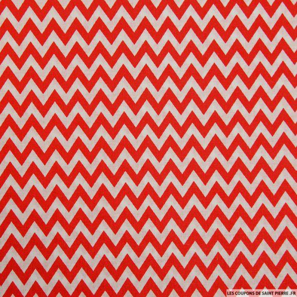 Coton imprimé grand zigzag rouge