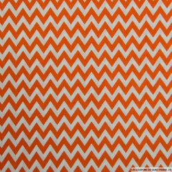 Coton imprimé grand zigzag orange
