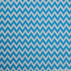 Coton imprimé grand zigzag bleu