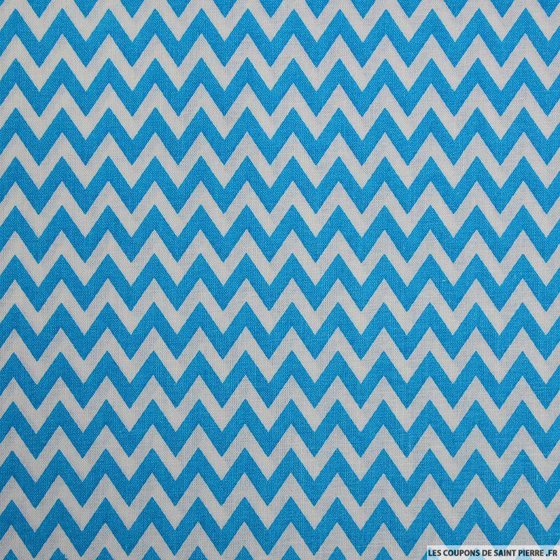 Tissu coton imprim grand zigzag bleu - Coupon de saint pierre ...