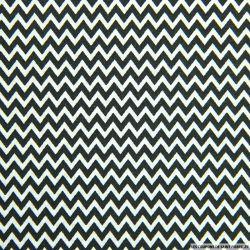 Coton imprimé petit zigzag noir