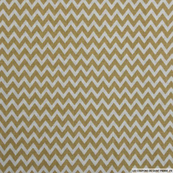 Coton imprimé petit zigzag beige