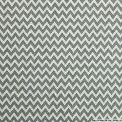 Coton imprimé petit zigzag gris