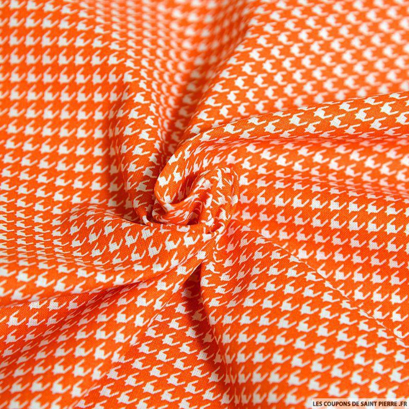 Tissu coton imprim pied de poule orange - Imprime pied de poule ...