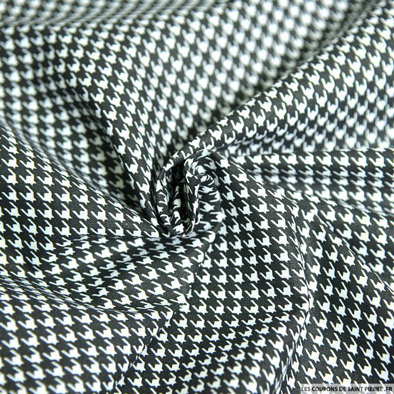 Tissu coton imprim pied de poule noir - Imprime pied de poule ...