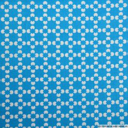 Coton imprimé fleur graphique bleu