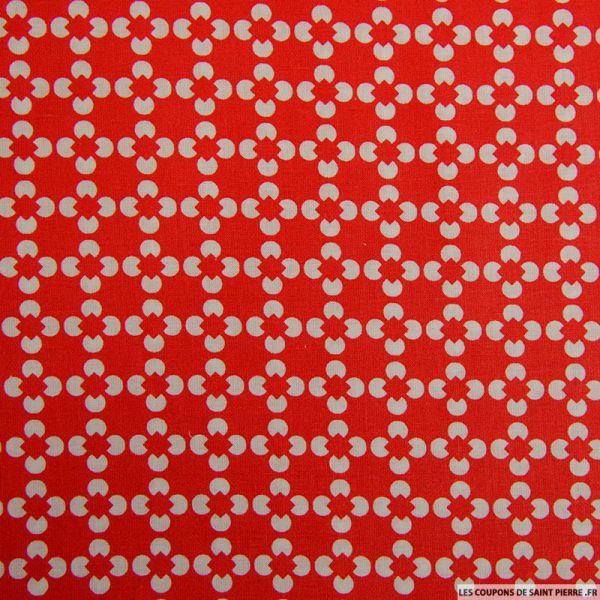 Coton imprimé fleur graphique rouge