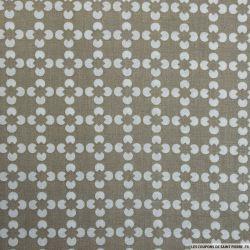 Coton imprimé fleur graphique beige