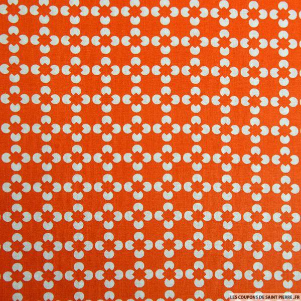 Coton imprimé fleur graphique orange