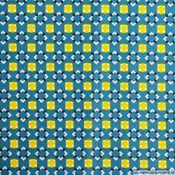 Coton imprimé graphique seventies bleu canard