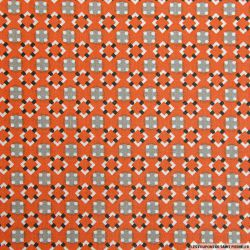 Coton imprimé graphique seventies orange