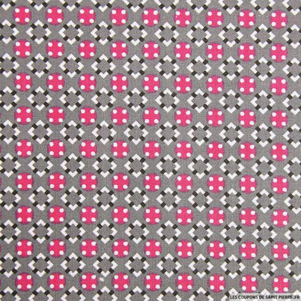 Coton imprimé graphique seventies gris