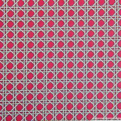 Coton imprimé cannage rose
