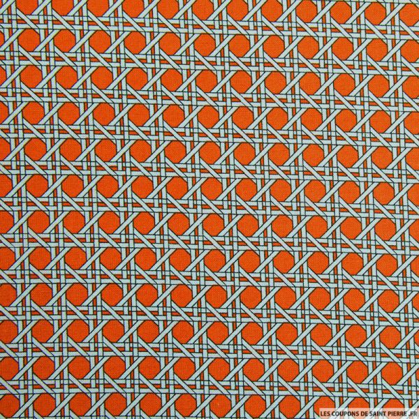 Coton imprimé cannage orange
