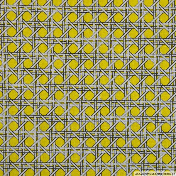 Coton imprimé cannage jaune