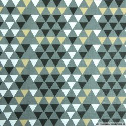 Coton imprimé triangle scandinave gris