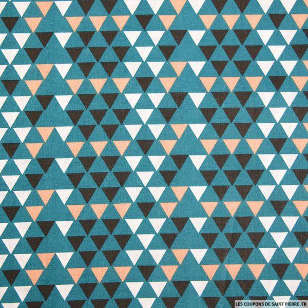 Coton imprimé triangle scandinave bleu canard