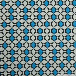 Coton imprimé losange graphique bleu