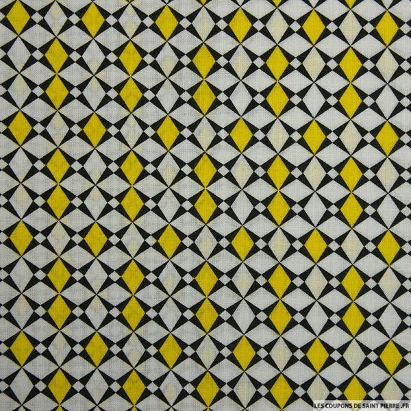 Coton imprimé losange graphique jaune