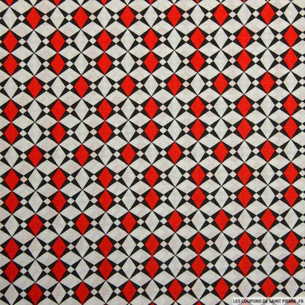 Coton imprimé losange graphique rouge