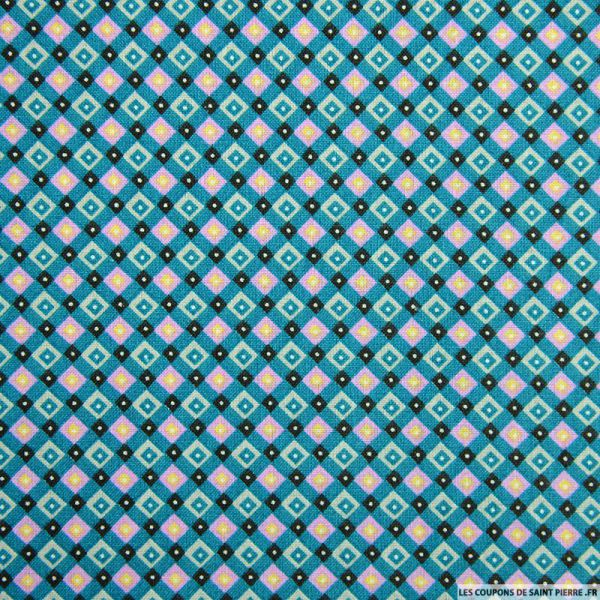 Coton imprimé quadrillage retro bleu canard