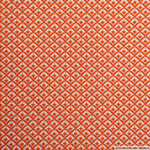 Coton imprimé éventail orange