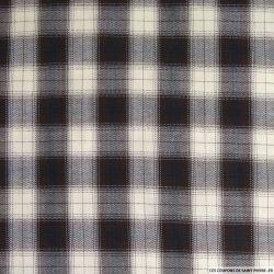 Coton tissé teint à carreaux et chevron marron