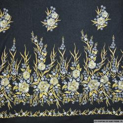 Laine brodée fleur or et argent fond noir