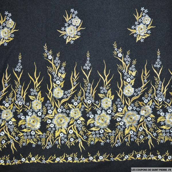 Tissu laine brodée fleur or et argent fond noir