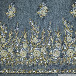 Tissu Laine brodée fleur or et argent fond gris