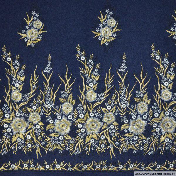 Laine brodée fleur or et argent fond marine