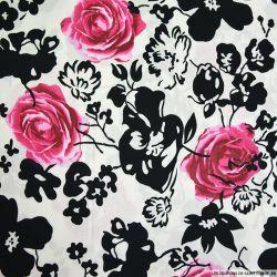 Coton imprimé rose et fleurs noires