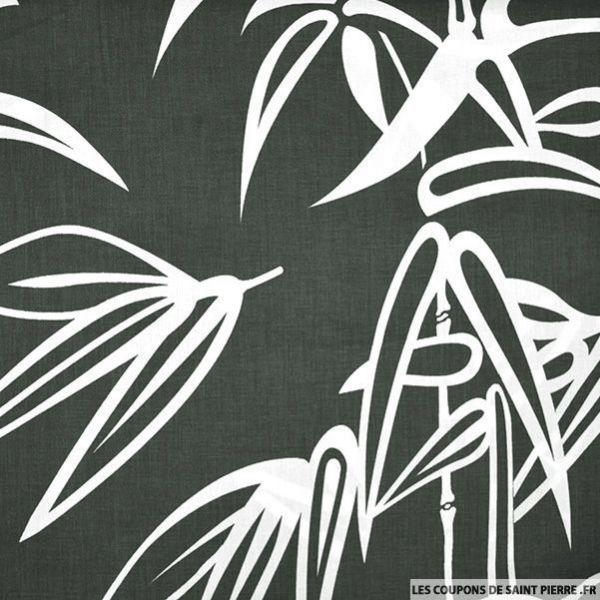Coton imprimé grands bambous fond gris