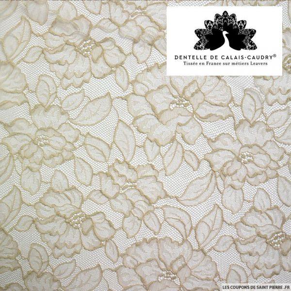 Dentelle de calais beige fleurs au mètre