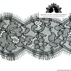 Ruban de Dentelle de calais® noir fine feston à fleurs au mètre