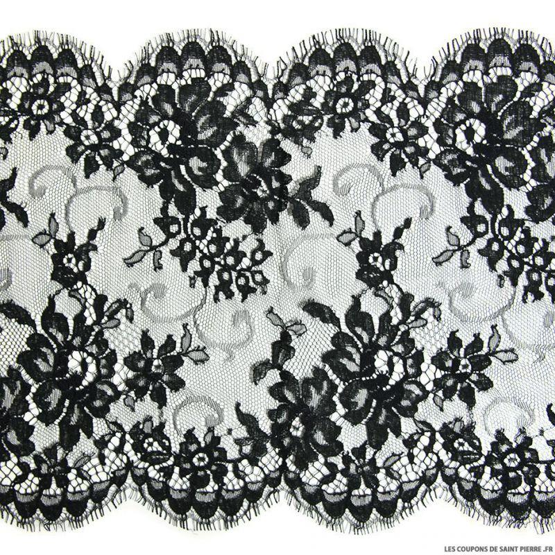 Ruban de dentelle de calais noir large feston fleurs au for Guipure noire au metre