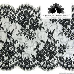 Ruban de Dentelle de calais® noir large feston à fleurs au mètre